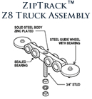 ZipTrack Z8 Truck Assembly